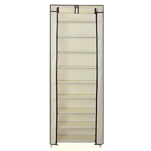 SONGMICS 10-Tier Shoe Tower Rack with Cover 27-Pair Space Saving Shoe Storage Organizer Beige URXJ10M