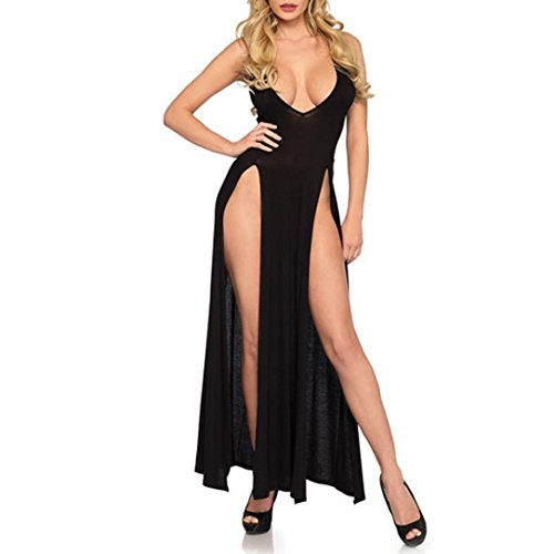 XILALU Sexy Women Girl V Neck High Split Lingerie Pajamas Sleeveless Solid Long Dress Nightdress Gown Plus Size (XL, Black) ()