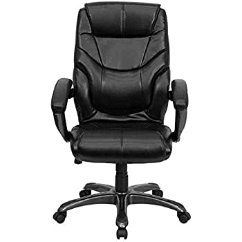 amazon com flash furniture high back black leather overstuffed