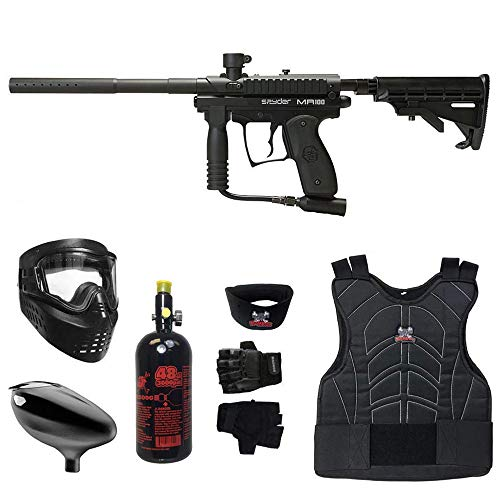 MAddog Spyder MR100 Pro Beginner Protective HPA Paintball Gun Package - Black