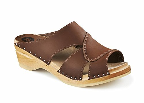 Troentorp Women's Båstad Original Mariah Sandal Leather Clog, Cocoa Nubuck Leather, 41 EU (11 US)