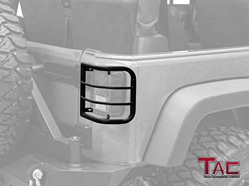 TAC Rear Light Guards for 2007-2018 Jeep Wrangler JK (Exclude 2018 Wrangler JL Model) 1- Pair Off Road Rear Tail Light Guards Textured Black Taillight Off Road Accessories (Wrap Around Style)