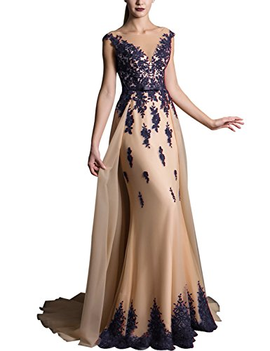 Long Lace Appliqued Prom Dresses Plus Size Party Gowns with Sweep Train Empire Waist with Sash Bow V Neck Cocktail Dresses 2019 Formal Celebrity EV429 Navy Blue Champagne Size 20W