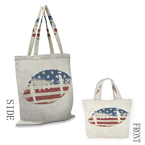 Football Daisy Vintage Canvas (Canvas bag SportsGrunge American Flag Themed Stitched Rugby Ball Vintage Design Football Theme Cream Blue Red18