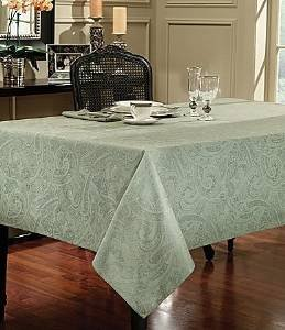 Ralph Lauren Paisley Suite Tablecloth (Sage, 60in X 120in Oblong)