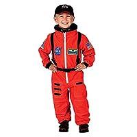 Traje de astronauta Aeromax Jr. con gorra bordada y parches de la NASA, NARANJA, tamaño 4/6