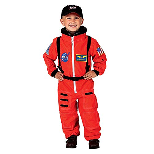 Space Suit Costumes (Aeromax Jr. Astronaut Suit with Embroidered Cap and NASA patches, ORANGE, Size)