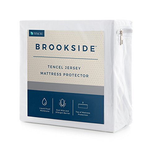Brookside Tencel Jersey Mattress Protector - Soft and Quiet - Hypoallergenic - Waterproof - Repels Allergens and Dust Mites - 10 Year U.S. Warranty - Twin by Brookside