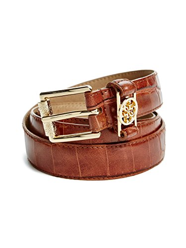 GUESS Women's Skinny Crocodile-Embossed Belt