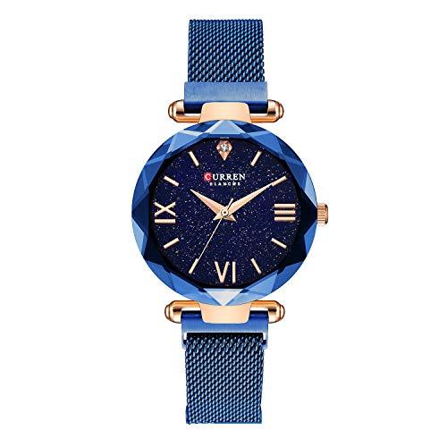 Women Starry Sky Watch Magnetic Buckle Bracelet Watch Diamond Blue Toned Dress Wristwatch Mesh Band