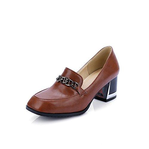 AdeeSu Ladies Chunky Heels Charms No-Closure Urethane Pumps Shoes Brown