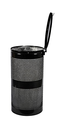 (Ex-Cell Kaiser WR-10R-CVR HGR Landscape Series Steel Perforated Trash Receptacle with Cover, 10 Gallon Capacity, 11-1/2