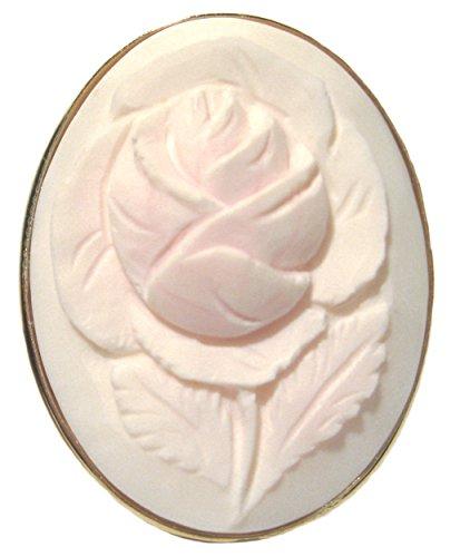 Cameo 18k Brooch (Cameo Master Carved, Brooch Sterling Silver 18k Gold Overlay Angel Skin Shell Art Deco Rose Italian)