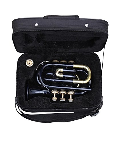 CHRISTMAS GIFT POCKET TRUMPET Bb PITCH BLACK COLORED WITH FREE HARD CASE + MP