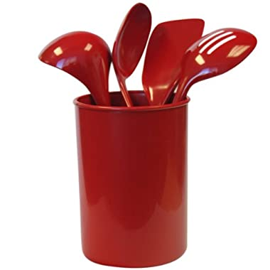 Reston Lloyd 82960 5-Piece Calypso Basics Utensil Holder Set, Red