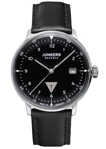 Junkers 60462 Men's Quartz Battery Watch with Black Dial Analogue Display and Black Leather Strap