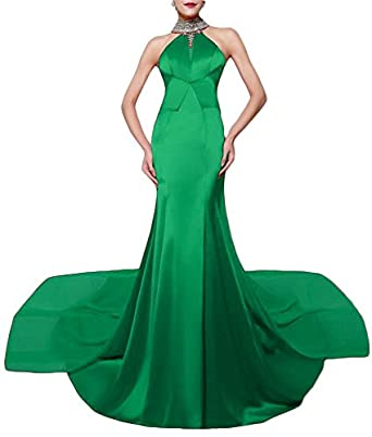 Womens Halter Bling Mermaid Evening Dress Plus Size Beads Around Neck Long Prom Gowns 611 Green