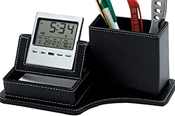Amazon leather desk clock with multi functional pen holder leather desk clock with multi functional pen holder pencil container phone holder and reheart Images