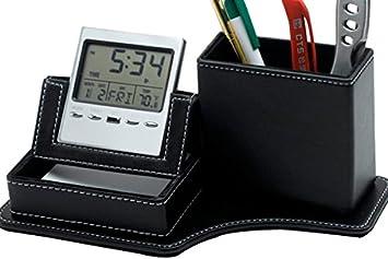 Amazon leather desk clock with multi functional pen holder leather desk clock with multi functional pen holder pencil container phone holder and colourmoves