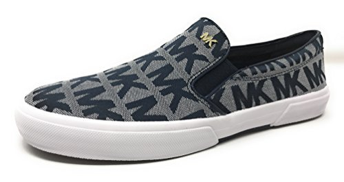 Michael Kors Women's Boerum Double Gore Signature Jacquard Sneaker Slip On Shoes (7.5, Navy)