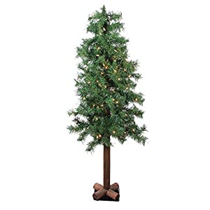 Northlight 4' Pre-Lit Woodland Alpine Artificial Christmas Tree - Clear Lights 42