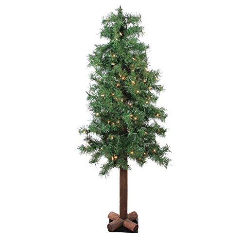 Northlight 4' Pre-Lit Woodland Alpine Artificial Christmas Tree - Clear Lights