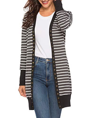 Viracy Striped Cardigans for Women, Ladies Open Front Sweater Color Block Button Knitwears Petite Long Sleeve Casual Classic Boyfriend Daily Waterfall Wrap Hip Length Coat Black S