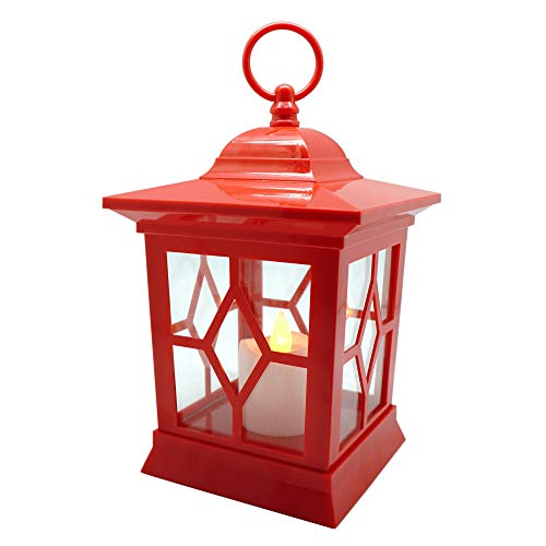 YAKii Hanging Led Flameless Candle Lantern, Yellow Light Flicker Battery Operated and Plastic Material (Red) (Lantern Decorative Red)