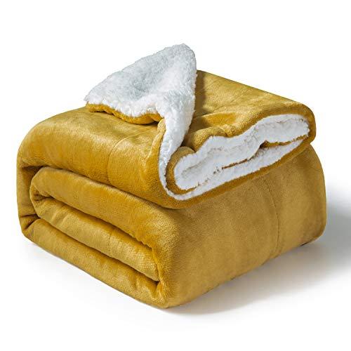 Bedsure Sherpa Fleece Blanket Throw Size Mustard Yellow Plush Throw Blanket Fuzzy Soft Blanket Microfiber