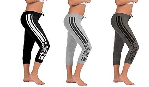 [E313XC/AST1-AST-3X] 3 Pack Ladies Capri w/ Both Side Print (black/charcoal/heather grey)
