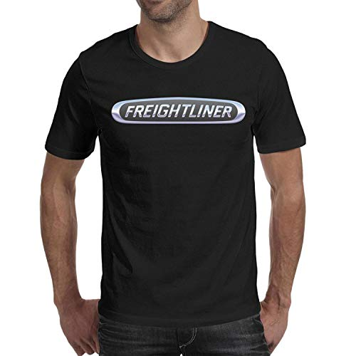 COOL FAMILY Men's Black Tee Shirt Adult Crew Neck Freightliner-Trucks-Logo- Short ()