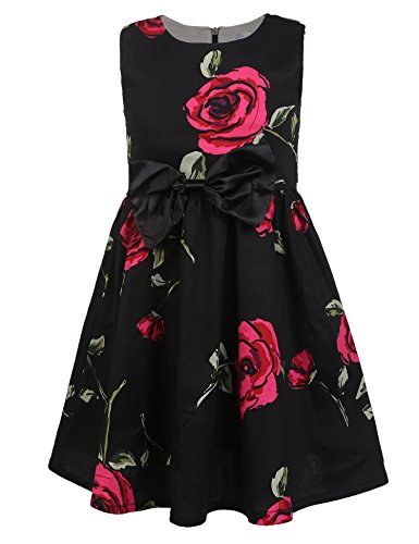 - balasha Little Girls Sleeveless Flower Print Back Zipper Pleated Dress with Belt D-Black