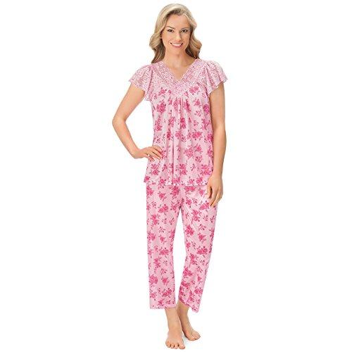 (Women's Lace Trim Floral Tricot Satin-Like 2pc. Pajama Set, Pink, XX-Large)