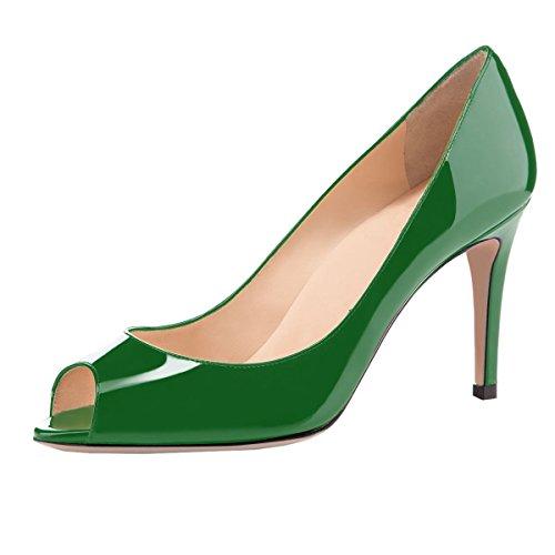 Sammitop Women's High Heel Peep Toe Shoes Comfort Padded Insole Mid Heel Dress Pumps Green US8.5 ()