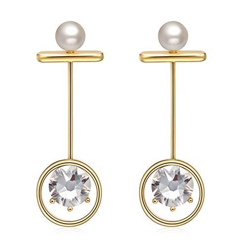 GAEA H Earrings for Women Dangling Gold,Drop Dangling Earrings from Swarovski Rhinestone ()