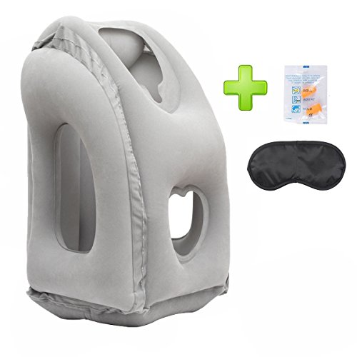 AirGoods Travel Pillow - Multifunctional Inflatable Travel Pillows For Airplanes, Portable Office Napping Pillow (Grey02)