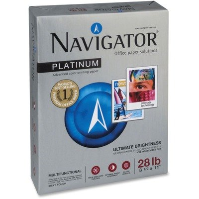 Navigator Platinum Office Multipurpose Paper - For Laser Print - Letter - 8.50quot; x 11quot; - 28 lb - Smooth - 99 Brightness - 2500 / Carton - Bright White