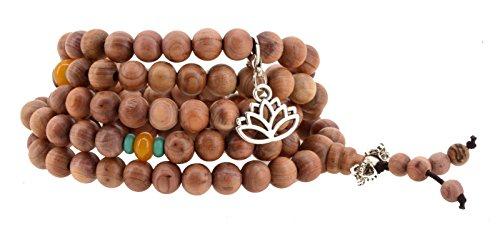 108 Tibetan Cedar Yoga Meditation Prayer Beads Mala Necklace Wrap Bracelet (Lotus Flower) Cedar Jewelry