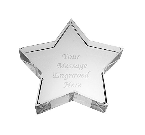 Silver Paperweight Star (Personalised Crystal Glass Star Paperweight - Comes With Engraving)