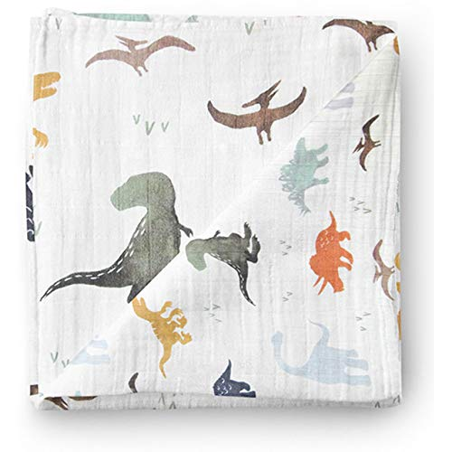Aenne Baby Muslin Baby Swaddle Blanket Dinosaur Dino Print, Baby Shower Gifts, Luxurious, Soft and Silky, 70% Bamboo 30% Cotton 47x47inch (1pack), Baby boy Nursing Cover, wrap, Burp Cloth ()