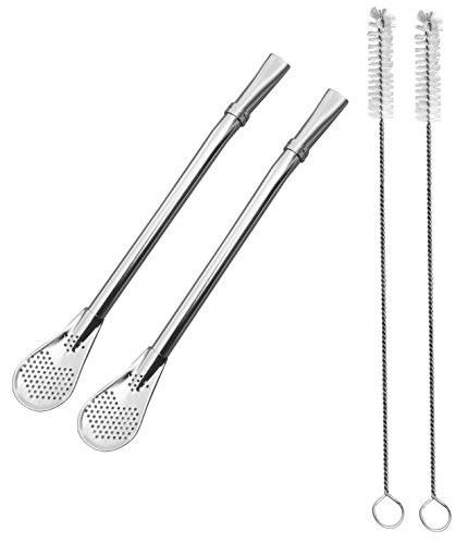 2 Yerba Mate Gourd Bombilla Filtered Straws Dependable Stainless Steel made to Filter Sediment -1 Cleaning Brush Drinking Straw For Gourd Loose Leaf Tea cocktail Infused Drinks FDA Safe 3 Piece Set