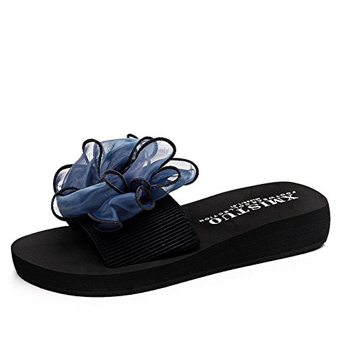 pengweiSummer ladies slippers butterfly flowers beach shoes thick bottom cool anti-skid slippers 4