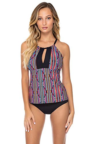 Sunsets Women's Mia Bra Sized High Neck Tankini Top Swimsuit, Playa Stripe, DD-Cup