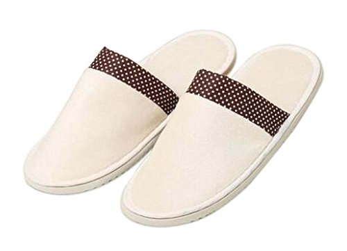 Blancho [White] 10 Pairs Soft Disposable Slippers Closed Toe Slippers