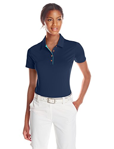 adidas Golf Women's 3-Stripe Short Sleeve Polo, Collegiate Navy/Nordic Green, X-Small