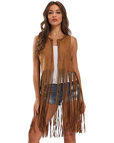 Brown Cowgirl Vest (Vocni Women's Tassels Faux Suede Fringe Vest 70s Hippie Costume Open-Front Sleeveless Cardigan Vest Brown)