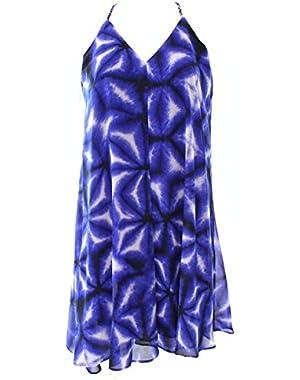 Racerback Printed Women's Petite Shift Dress @014 Blue 10P
