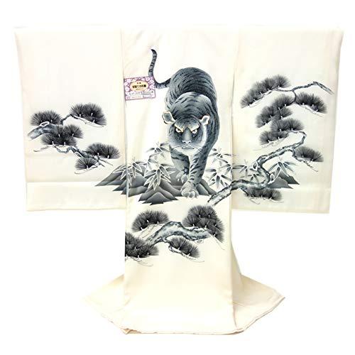 [京都の着物屋かさね] お宮参り 男の子 着物 産着 初着 のしめ 祝い着 フードセット付き 京友禅 正絹 白 虎 タイガー 仕立て上がり du-68   B07RNQ71DX