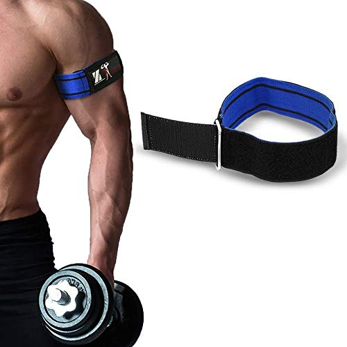 Occlusion Training Bands Blood Flow Restriction Training Bands Fitness [2 PCS] Grow Muscle Without Lifting Heavy Weights - Strong Elastic Strap Quick-Release Cam Buckle (Blue-L-2-Black, 28 inch)