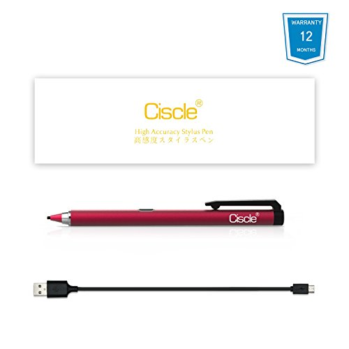 Active Stylus Pen, Ciscle Capacitive Digital Pen, 5 Mins Auto Power Off with High Precision Sensitivity 1.5mm Copper Tip, Fine Point Stylus for Touch Screen Devices, iPad/iPhone/Android Tablets-Red by Ciscle (Image #6)